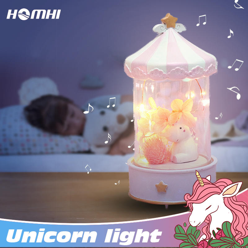 Unicorn Night Light Music Box Cute Horse Lamp Decoration Bedroom Child Friend Thanksgiving Christmas Girl Birthday Gift