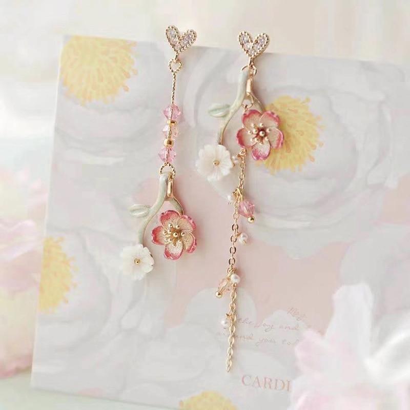 MWSONYA New Korean Heart Loves Flowers Pendant Earrings Flower Tassel Earrings for Women Drop Earrings Jewelry Earrings