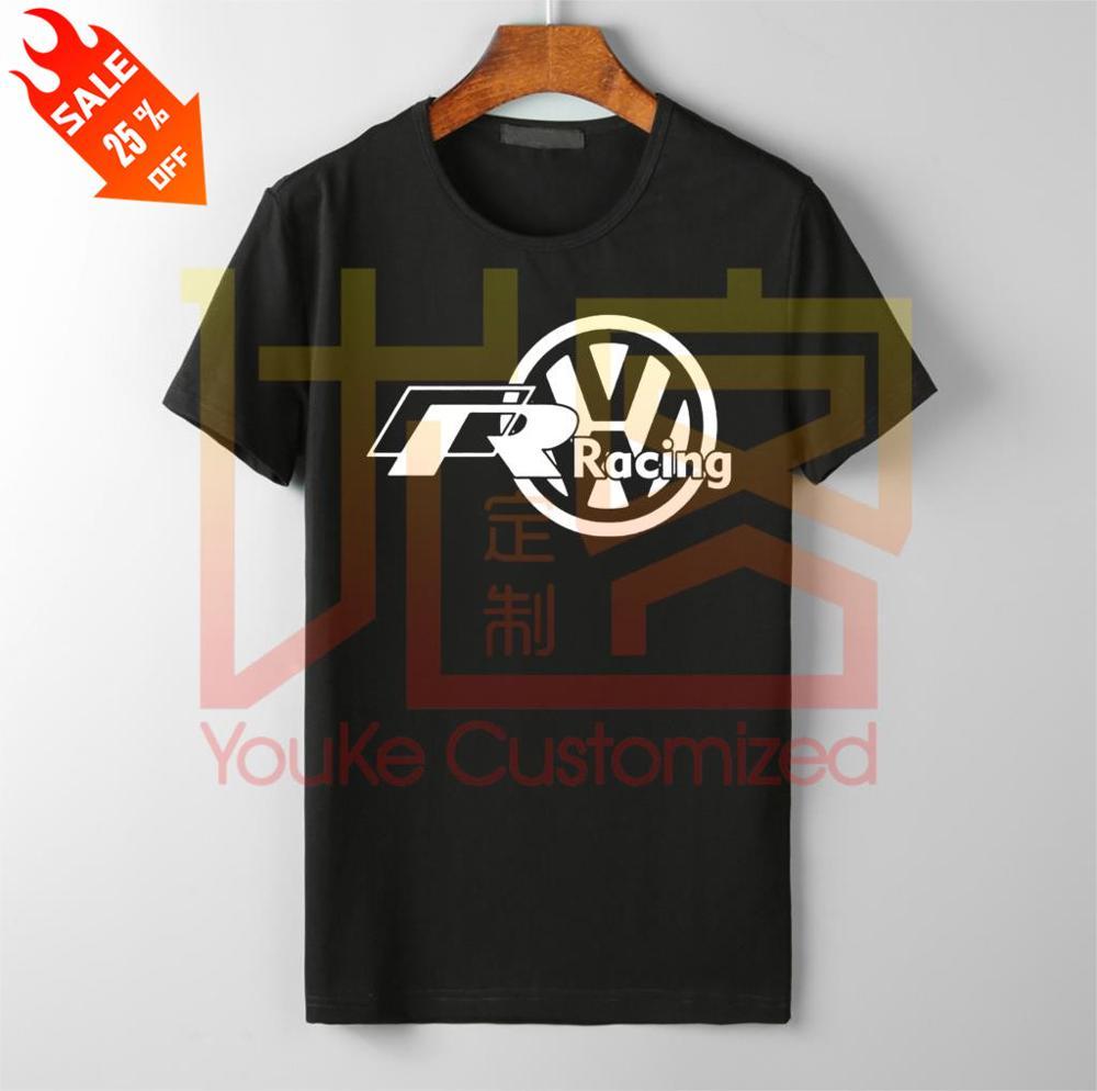 Men's Super Car  VW Volkswagen R Racing - Custom Men's Black T-ShirtFashion Men Free Shipping Men's T-shirt Vintage Crew Neck