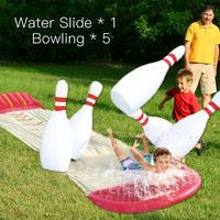 Bowling Double Water Slide Lawn Water Slides For Children Summer Pool Kids Games Fun Toys backyard Outdoor Wave Rider