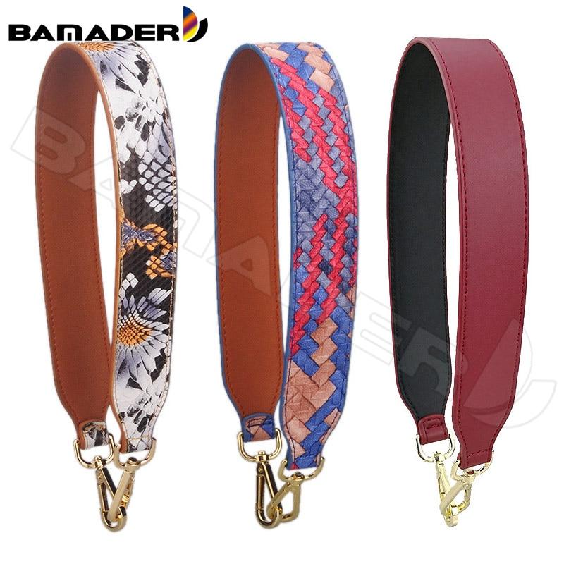 BAMADER Brand Fashion Short Wide Shoulder Strap 68CM Hot High Quality Snake Pattern Leather Bag Strap Bag Accessories Obag