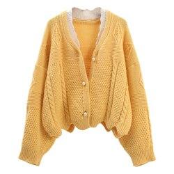 H. SA женский короткий осенний свитер и кардиганы жемчуг бисер негабаритных трикотажные джемперы зеленая верхняя одежда вязаный Топ зимняя к...