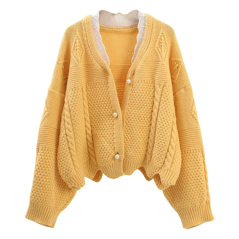 H.SA Women Short Fall Sweater And Cardigans Pearls Beading Oversized Knit Jumpers Green Outwear Knit Top Winter Ctop Jacket