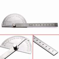 New 198x53x14mm Stainless Steel 180 Degree Adjustable Protractor Angle Ruler Multifunctional Rotary Measuring Tools
