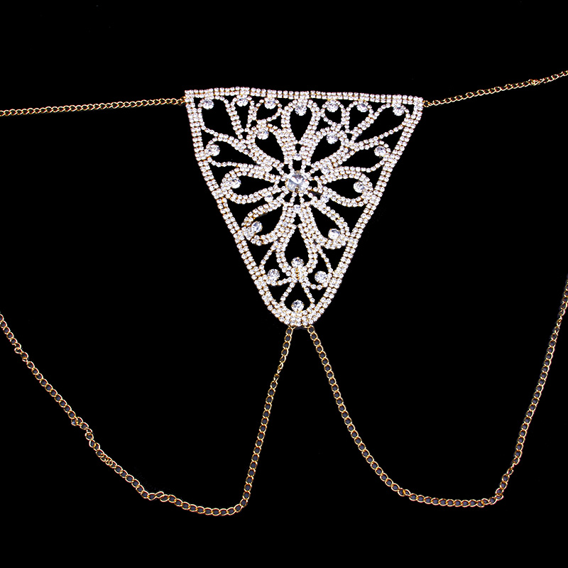 StoneFans Crystal Body Jewelry Waist Chain for Women Sexy Rhinestone Lingerie Flower Panties Thong Belly Chain Christmas Gift 3