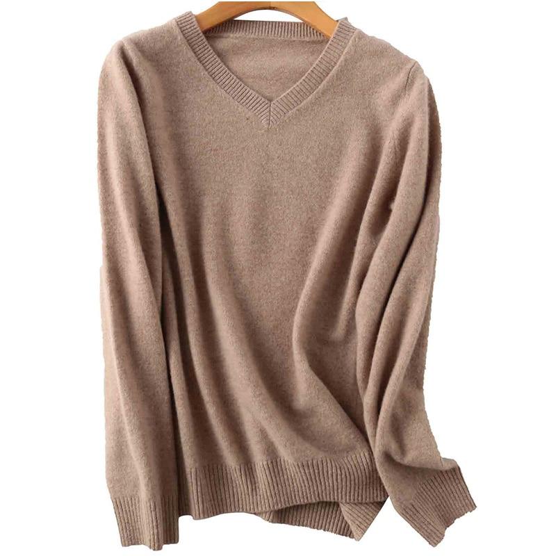 100% Merino Wool Women V-Neck Sweater 2020 Autumn Winter Warm Soft knitted Pullover Femme Jumper Women Cashmere Sweater 16