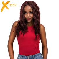 Lace Front Synthetic Hair Wigs Middle Part 99J Red Color X TRESS 20inch Long Soft Natural Wave Trendy Lace Wig For Black Women