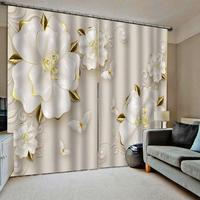 White curtains marble flower 3D Curtain Printing Blockout Polyester Photo Drapes Fabric