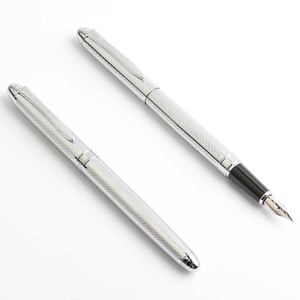 Kualitas Tinggi Fountain Pen Full Metal Mewah Pulpen Kantor Sekolah atau Hadiah Perlengkapan Alat Tulis Menulis Hitam Biru Merah Tinta