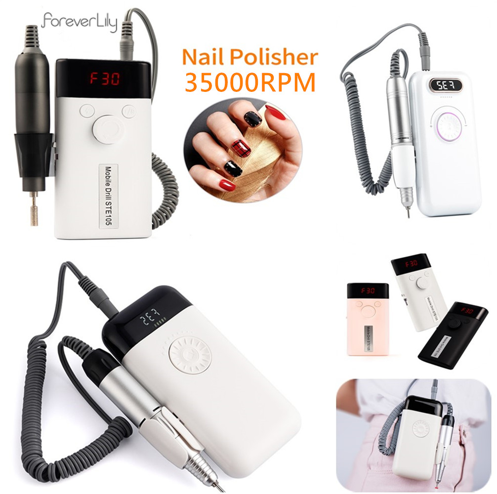 35000RPM/30000RPM Electric Nail Drill Machine Rechargeable Manicure Nail Polisher UV Gel Removal Polishing Drill Nail Equipment