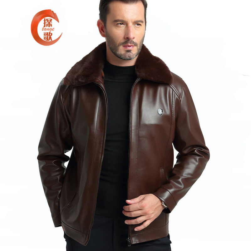 2018 Hot Selling Middle-aged Fur Collar PU Leather Jacket Brushed And Thick Warm MEN'S Leather Coat