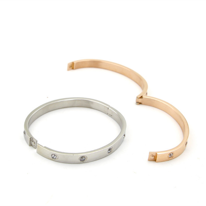Image 5 - Mavis Hare Crystal nail love & Crystal Stainless Steel Cuff Bangle Set high quality Card buckle bracelet bangle for Woman-in Bangles from Jewelry & Accessories