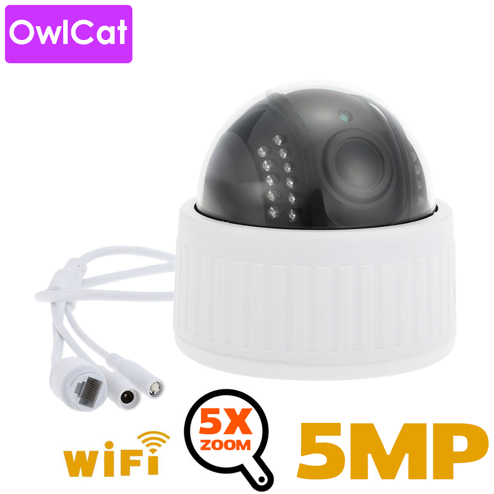 OwlCat 5X Zoom 2,7-13,5 mm Indoor Wireless Rotate Dome PTZ IP Camera WiFi HD 2mp 5mp Audio Microphone SD Card IR Night Onvif P2P