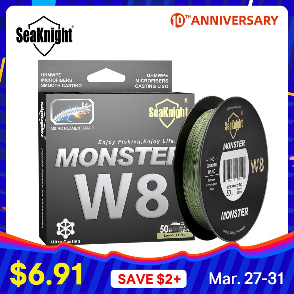 SeaKnight MONSTER W8 สายตกปลา 150M 300M 500M 8 Strands สายถัก Braided Multifilament PE 15 20 30 40 50 80 100LB title=