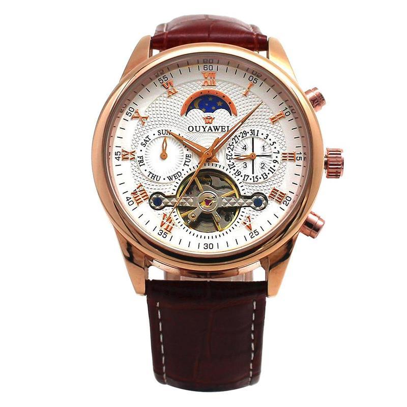 Waterproof Mechanical Luxury Watch Multi-function Automatic Leather Wristwatch Male Fashion Business Watches Ouyawei New Clock
