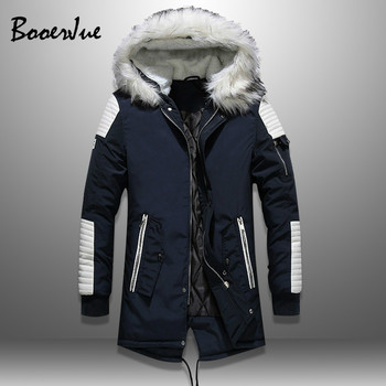 Plus Velvet Men Fur Collar Coats Winter Streetwear Thick Mens Jackets Warm Hooded Men's Parka Jacket PU Patchwork Outwear Hoody