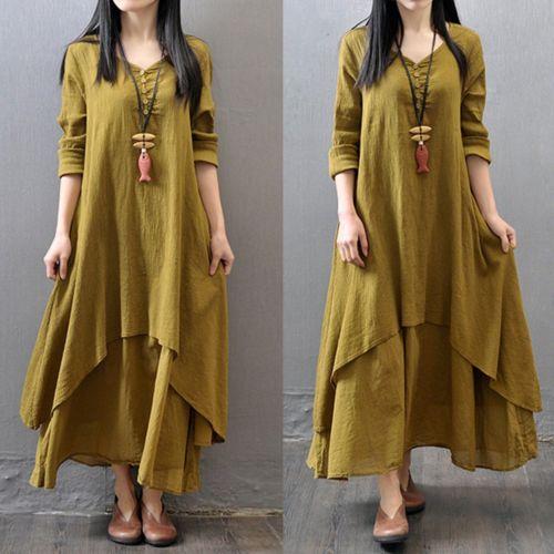Весна Boho женское V Nekc крестьянское этническое хлопковое льняное Повседневное платье макси с длинными рукавами на пуговицах Несимметричное длинное платье хит - Цвет: Ginger