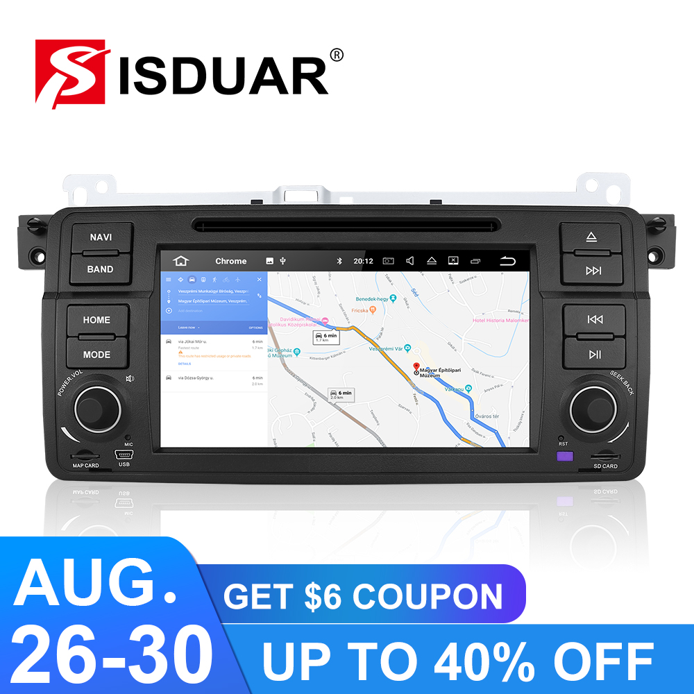 Isudar 9 1 Din player Multimídia Carro Android GPS Autoradio Sistema Estéreo Para BMW/E46/M3/Rover /3 Series RAM 64 4G ROM GB Rádio FM