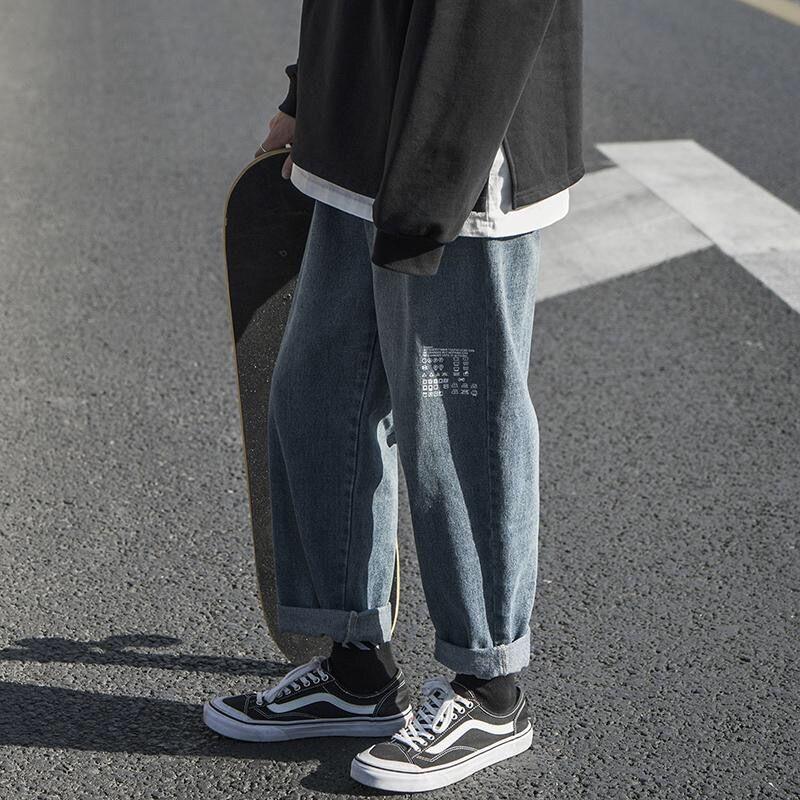 Korean Plus Size Jeans Men Hip Hop StreetWear Joggers Ankle Length Denim Cargo Pants Loose Pocket Harem Trousers Sweatpants
