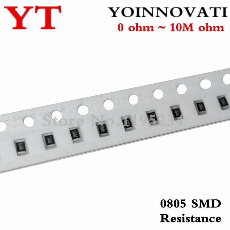 100 шт. 0805 SMD 1/4 Вт 0R ~ 10 м чиповый резистор 0 10R 100R 220R 330R 470R 1K 4,7 K 10K 47K 100K 0 10 100 330 470 Ом