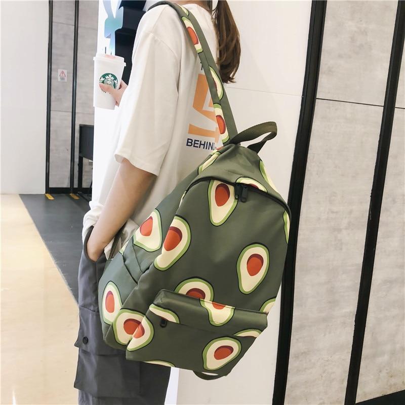 Cartoon Fruits Animals Print Women Canvas Backpack Large Capacity Students Travel School Bagpack Avocado Mochila Feminina