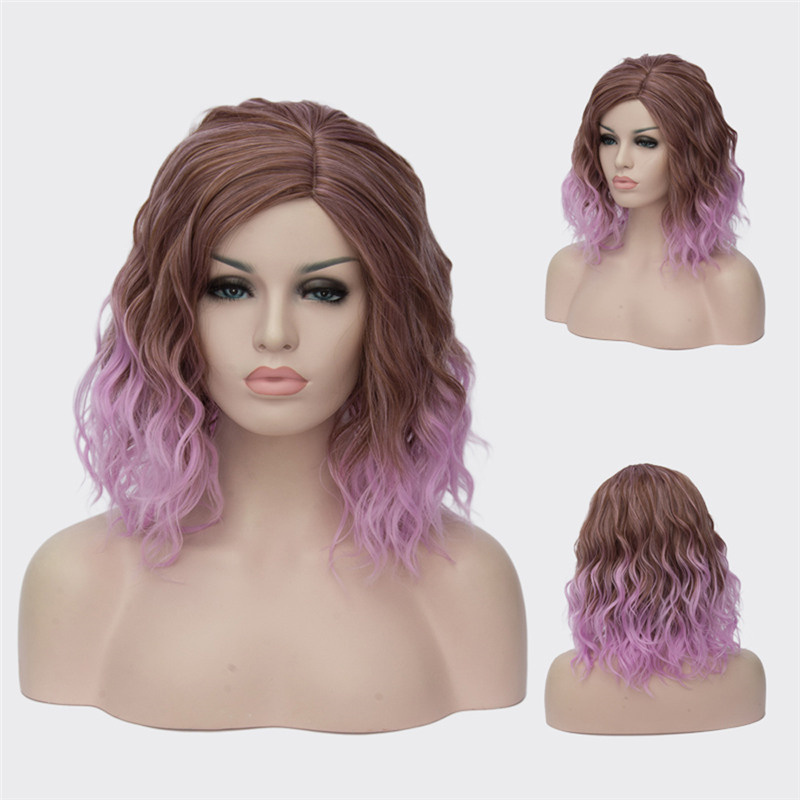 Sintético curto roxo perucas para mulher encaracolado