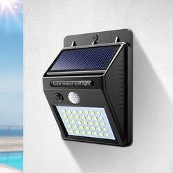Caminho luzes led energia solar pir sensor de movimento luz de parede ao ar livre à prova dwaterproof água rua quintal casa jardim lâmpada segurança auto on/off