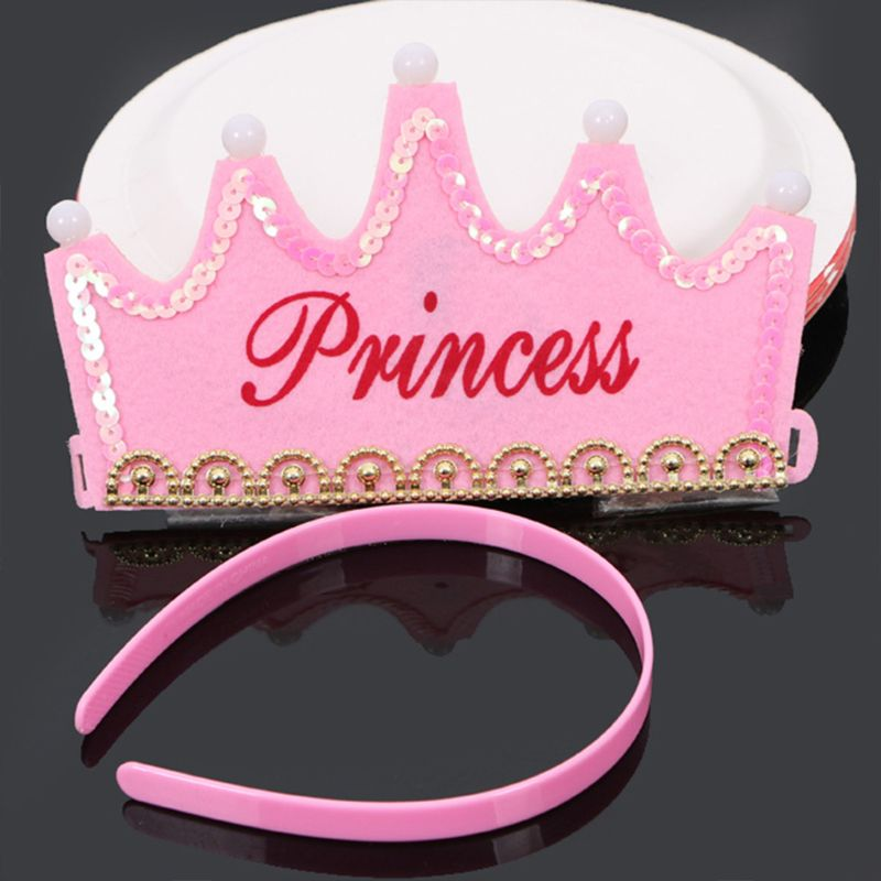 Baby Shower Princess Gold Crowns Foam Party Decorations It's A Girl Favors Glowing Crown Birthday Hat R7RB