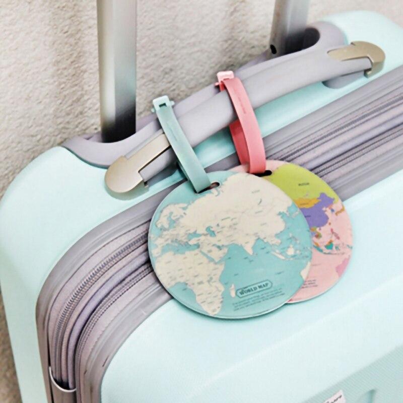 /Étiquette de Bagage pour Valise /à Bagages 2 PCS Map World Leather Leather Bag /Étiquettes dadresse
