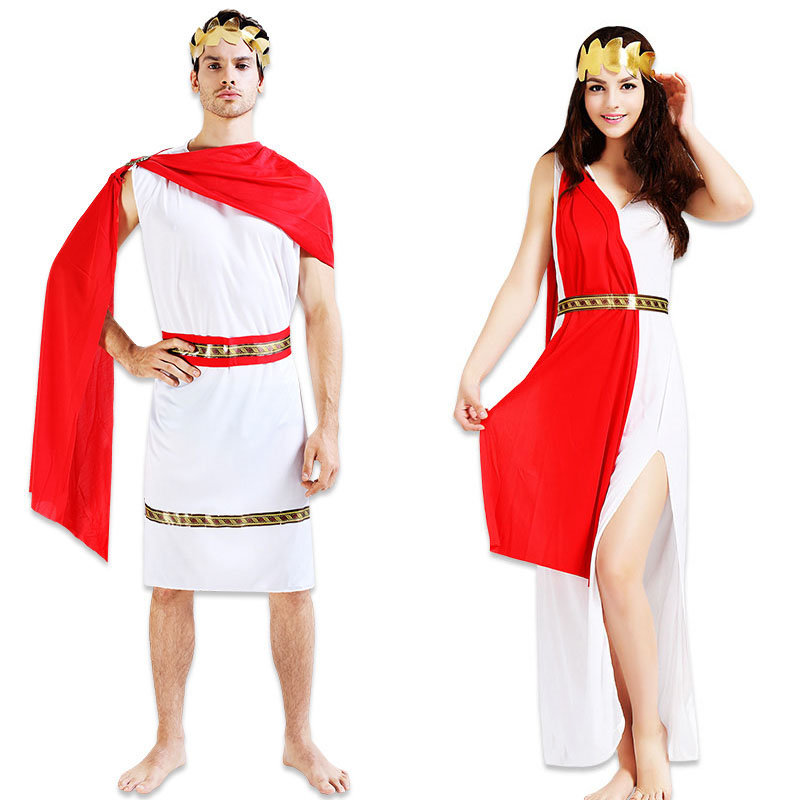 Men Women Boy Girl Greek Roman Cosplay Costume Grecian Goddess God Carnival Halloween Fancy Dress Clothing Set Christmas