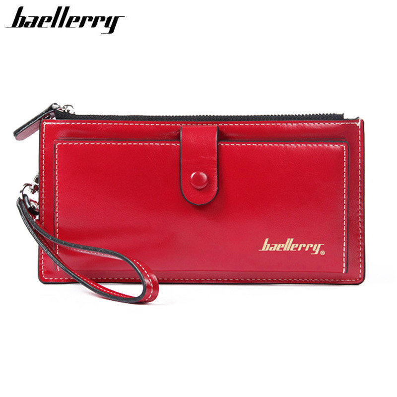 Women Wallet Leather Long High Quality Solid Color Hasp Zipper Wallet For Credit Cards Clutch Female Mobile Bags Purse Carteira