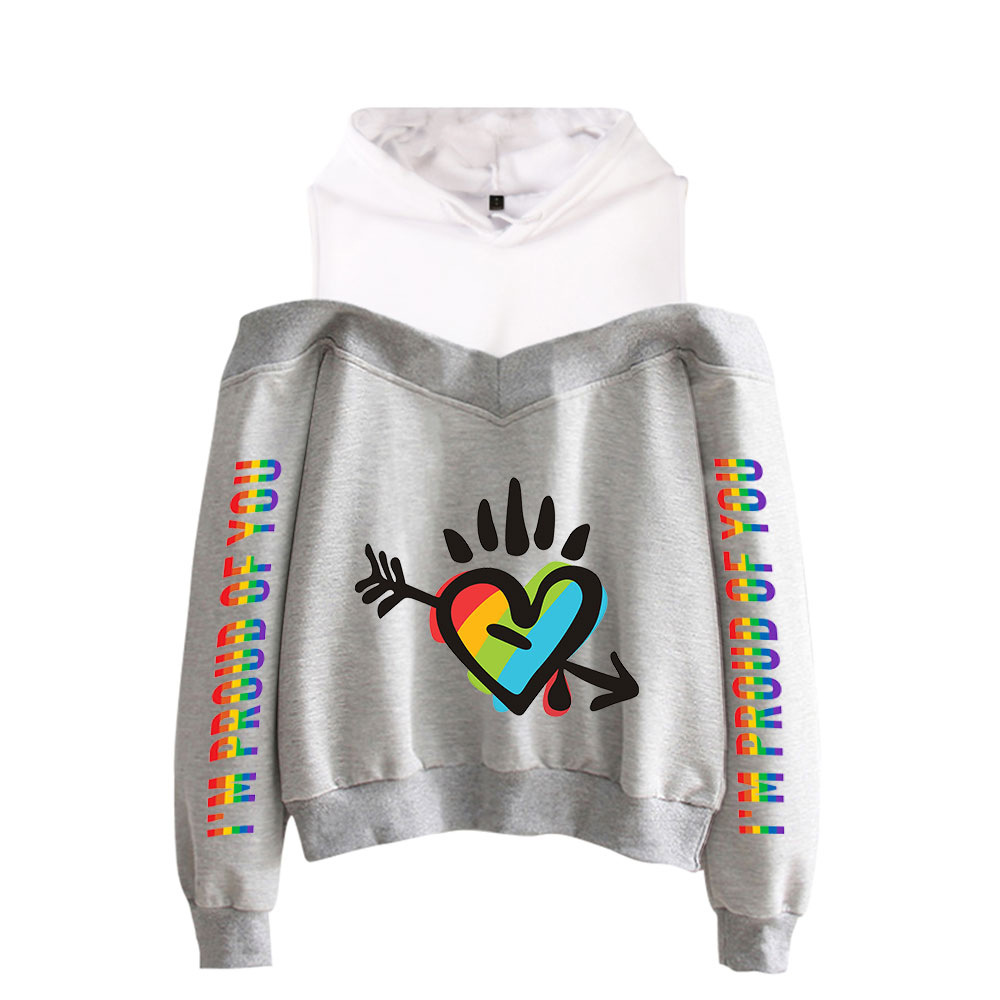 Im Pround of You LGBT Gay Lesbian Pride Unisex 2 Piece Long Sleeve Tracksuit Set Pullover Hoodie Sport Workout Outfits Top and Jogger Pant