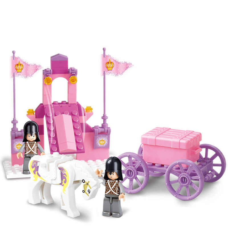 137Pcs Legoinglys friends for girl Princess Royal Carriage Wagon Model Building Blocks Sets Figures Educational Toys For Girls