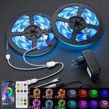 Tiras de led luzes bluetooth 5050 rgbw branco quente rgbww luzes led fita flexível 5m-30m fita diodo telefone wi-fi controle remoto conjunto