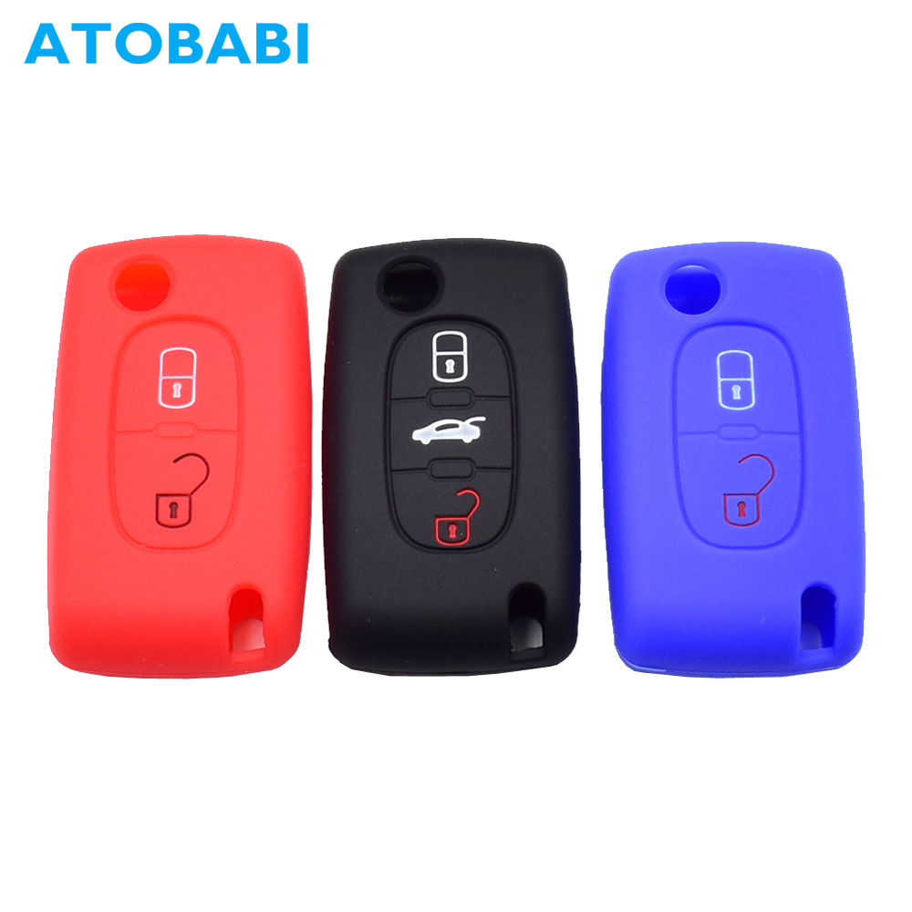 Silicone Car Key Case For Peugeot 207 307 308 407 408 Remote Control Fob Cover For Citroen C2 C3 C4 C4L C5 C6 Quantre Keychain