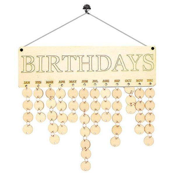 Wood Birthday Reminder Board Birch Ply Plaque Sign DIY Calendar Accessories Hook Special Dates Planner Board Hanging Deco 2019d7
