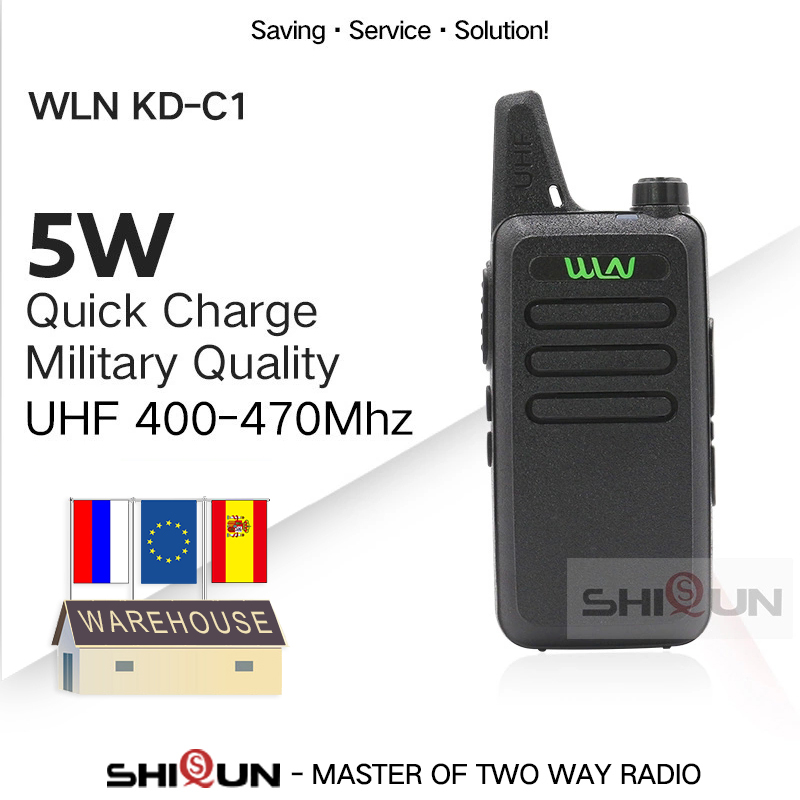 1PC WLN KD-C1 Mini Walkie Talkie UHF Two Way Radio RT22 Talki Walki WLN Radio 5W Mini Portable 2 Way Radio UHF 400-470Mh USB
