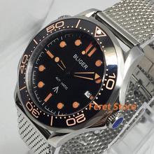 Bliger 41mm Luxury watch Silver Stainless steel Case Sapphire Glass Ceramic Beze