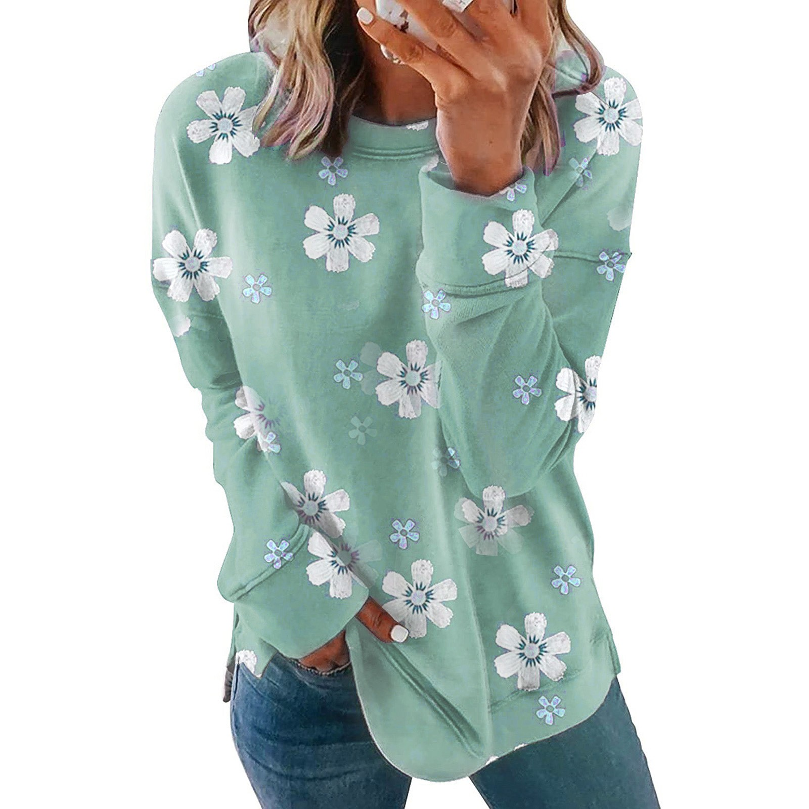 Sweet Floral Tops Shirts For Women 2021 Spring Autumn Casual Loose O-Neck Long Sleeve Shirts camisetas de mujer