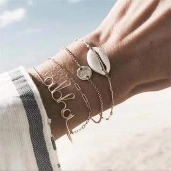 20 Styles Women Girls Mix Round alloy Crystal Marble Charm Bracelets Fashion Boho Heart Shell Letter Bracelets Sets Jewelry Gift 13