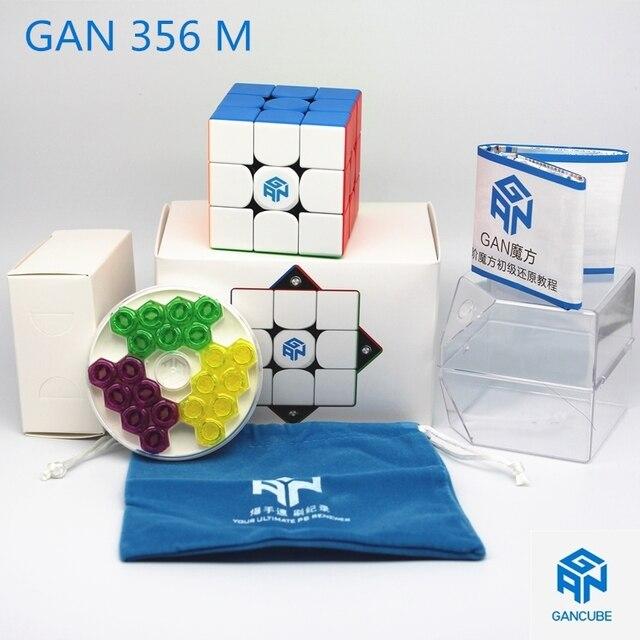 Fast delivery GAN cubes GAN 356 M stickerless 3x3 Speed cube Magnetic Professional Speed cube GAN356M 3x3 GAN 356 M Cubo Magico 1