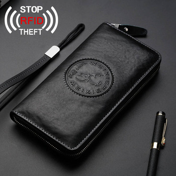 Vintage Genuine Leather Wallet RFID Theft Protect Wallet Zipper Coin Pocket Passport Cover Long Purse for Men Card Holder 2020