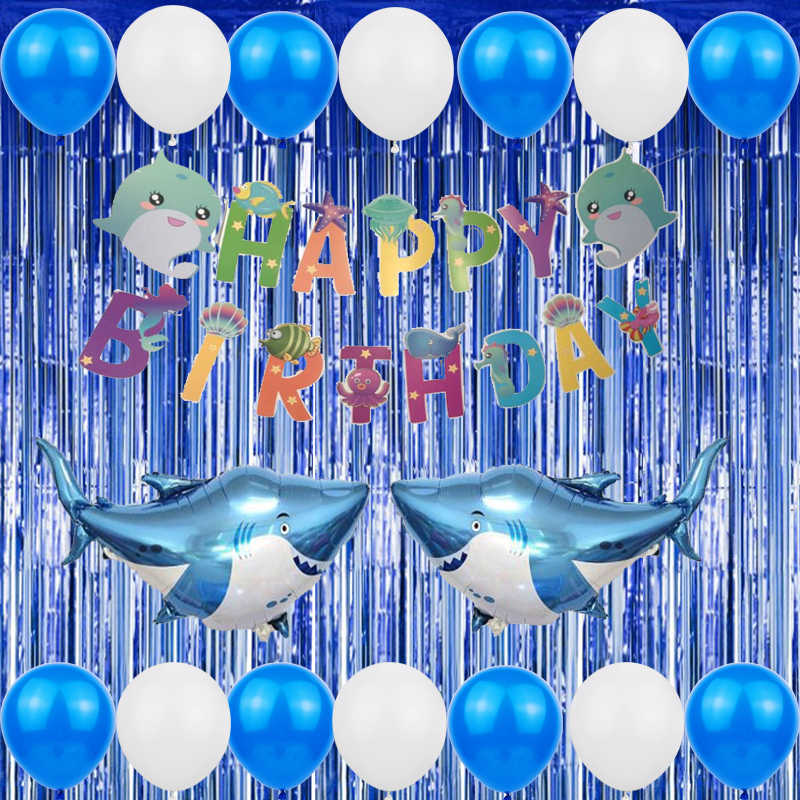 Marine Animals Balloon with Happy Birthday Banners Decor for 1st Kids Baby Shower Under The Sea Party Supplies XDDIAS Boys Girls Ocean Themed Birthday Party Decorations