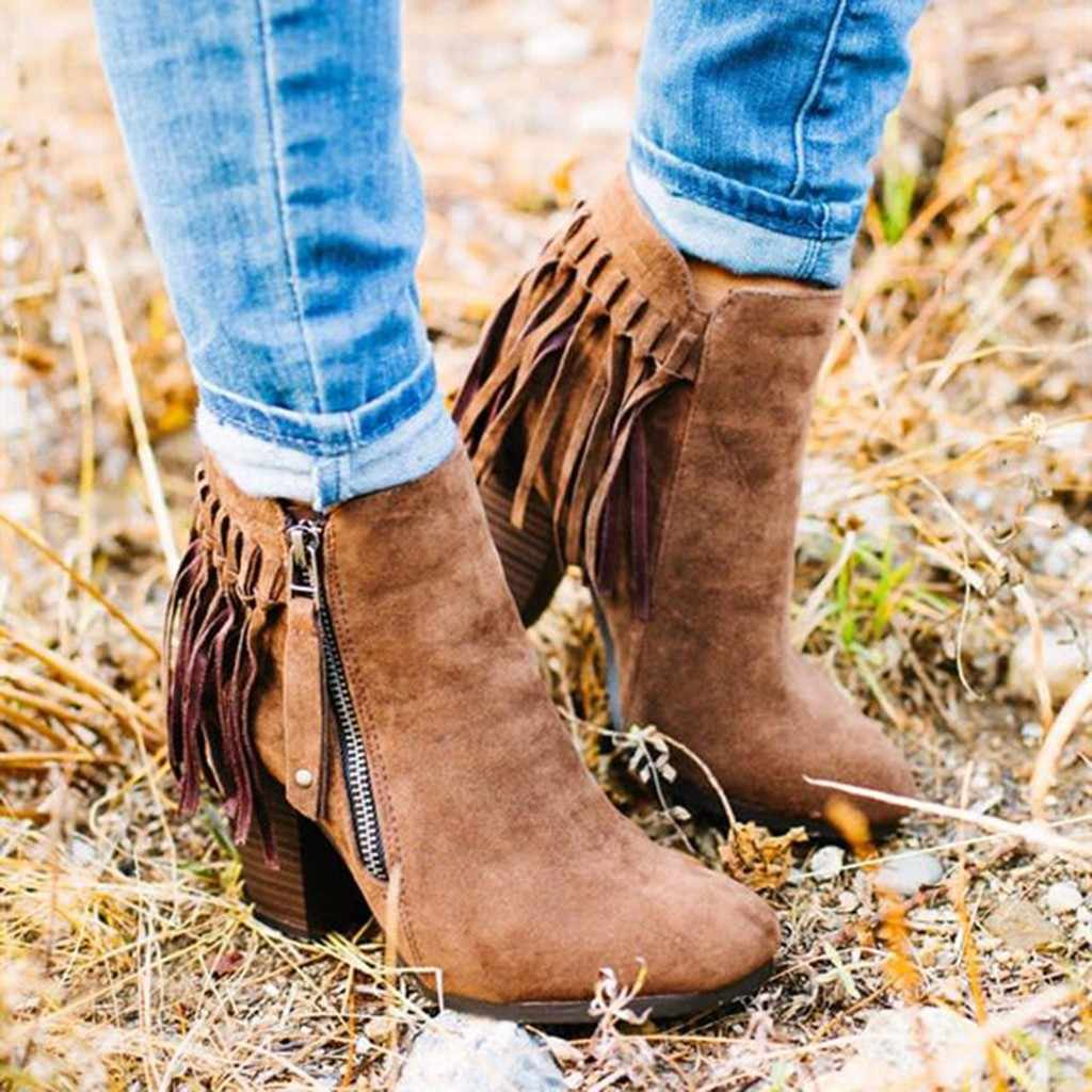 Kadın çizmeler bayanlar moda Retro katı saçak Zip kalın kısa çizmeler rahat ayakkabılar PU deri artı boyutu kadın sonbahar ayakkabı M50 #