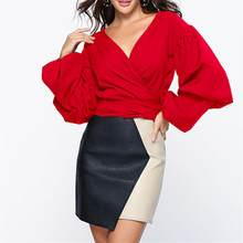 2019 Autumn Sexy V-Neck Lantern Sleeve Bow Tie Top Waist Blouse Shirts Adjustable Wrap New Arrival Many Ways Style(China)