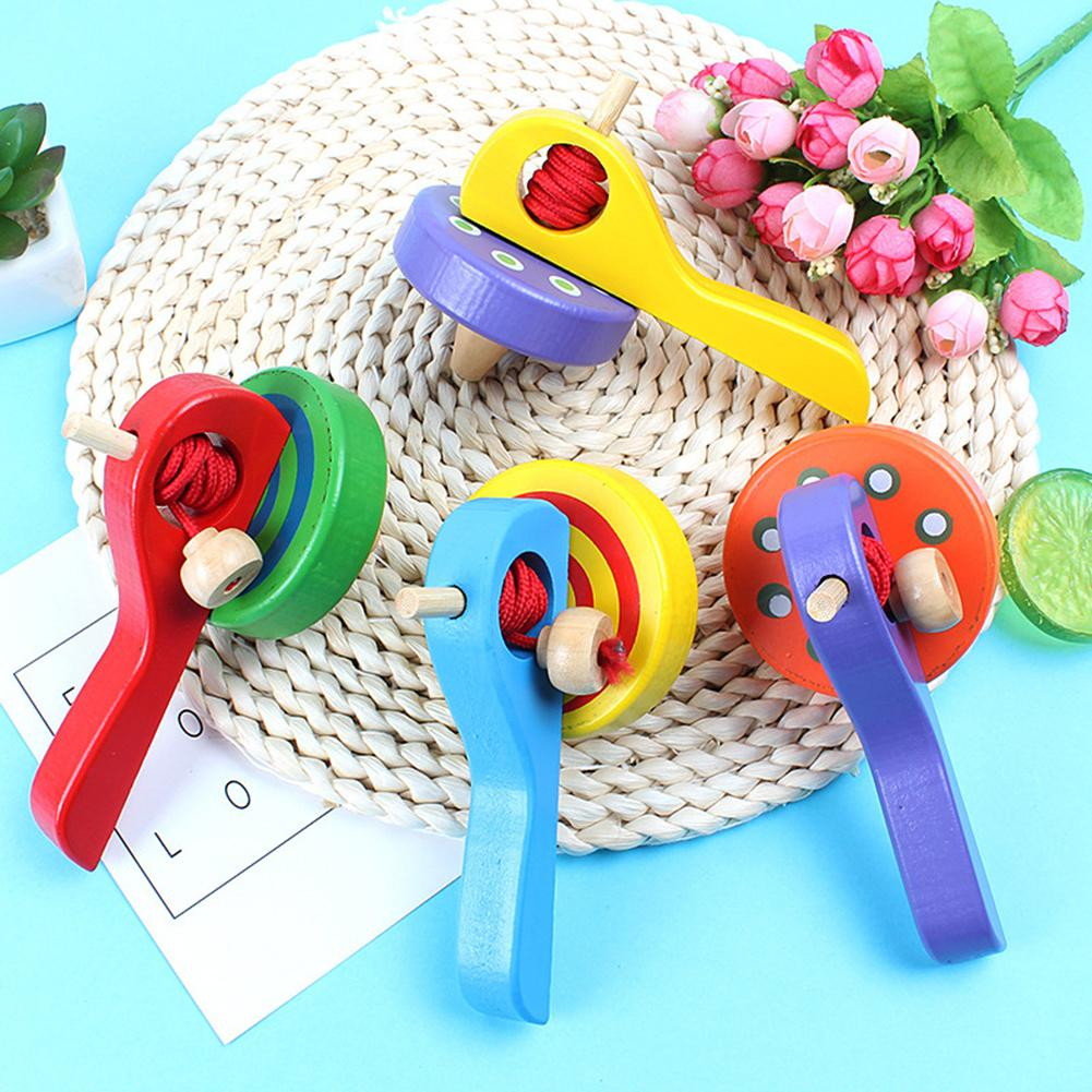 Classic Wooden Peg Top Spinning Gyro with Launcher Rope Children Play Toy Gift Enhance the child's hand coordination observation(China)