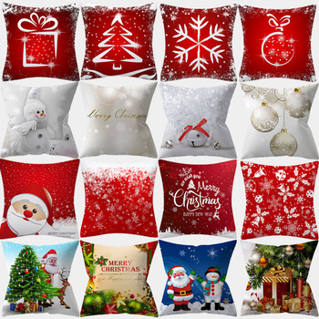 Happy New Year Cushion Cover 45*45 Pillowcase Letter Tree printed Sofa Cushions Polyester Decorative Pillow Covers Home Decor new cartoon dinosaur decorative pillow cushion covers pillowcase cushions for sofa polyester pillowcover cuscini decorativi