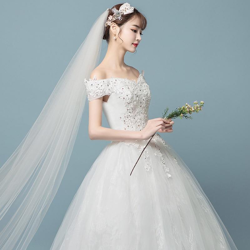 Robe de Soiree 2019 New Muslim Lace Wedding dresses V neck Backless Ball gown Tulle Luxury Bridal gowns Vestido de Noiva