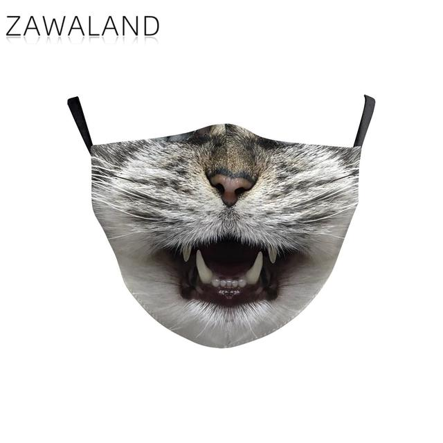 Zawaland Lovely Cartoon Printed Masks Reusable Cat/Tiger Face Cover Washable Adjustable Kid Mouth Mask for Kids Children 3
