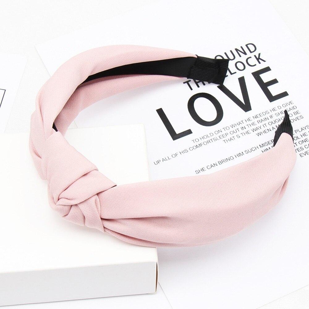 Couleur unie noeud bandeaux pour femmes Simple tissu filles bandeau femmes cheveux accessoires large côté bandeau 6